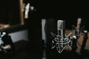 microphone in soundproof recording studio
